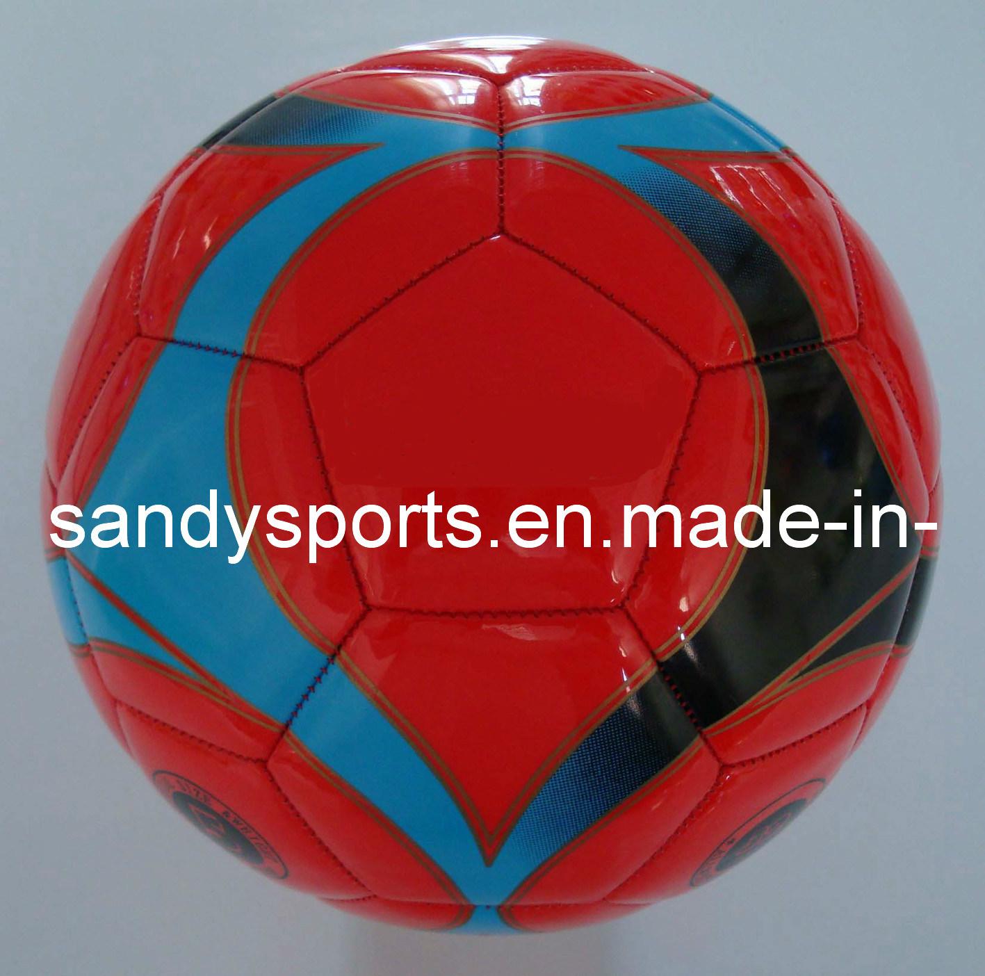 Shine PVC Leather Machine-Sewn Promotion Soccer Ball Football