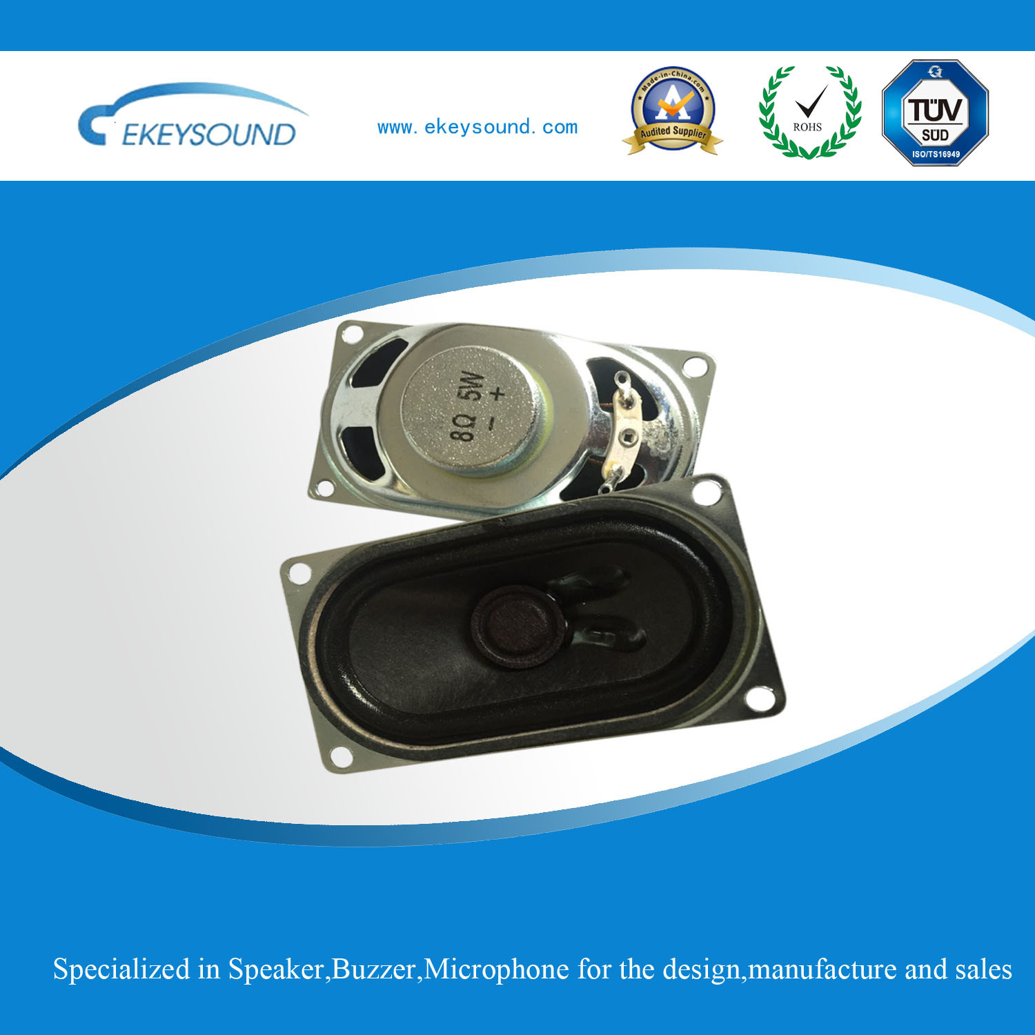 40mm*70mm Square Multimedia Speaker Unit