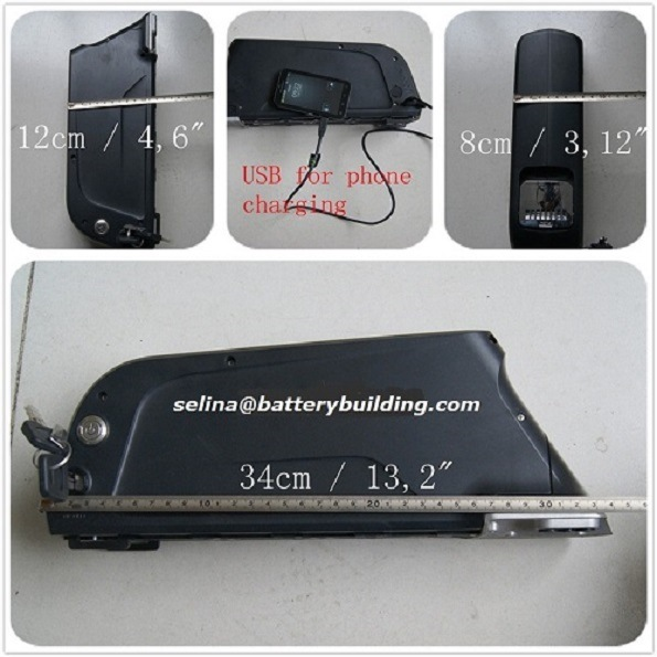 14s 52V Ebike Battery Pack Dolphin Lithium Battery Downtube Shark Pack with SANYO 3500mAh Cells by 14s4p