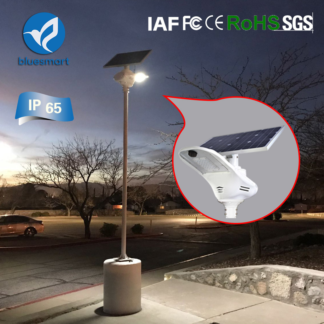 Bluesmart Integrated Solar Street Lamp 15W-120W Solar Fly Hawk Light