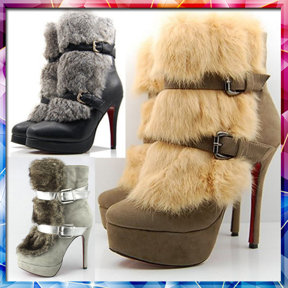 images of Sexy High Heels Fur Uppers Snow Boots / Big Size Women Shoes