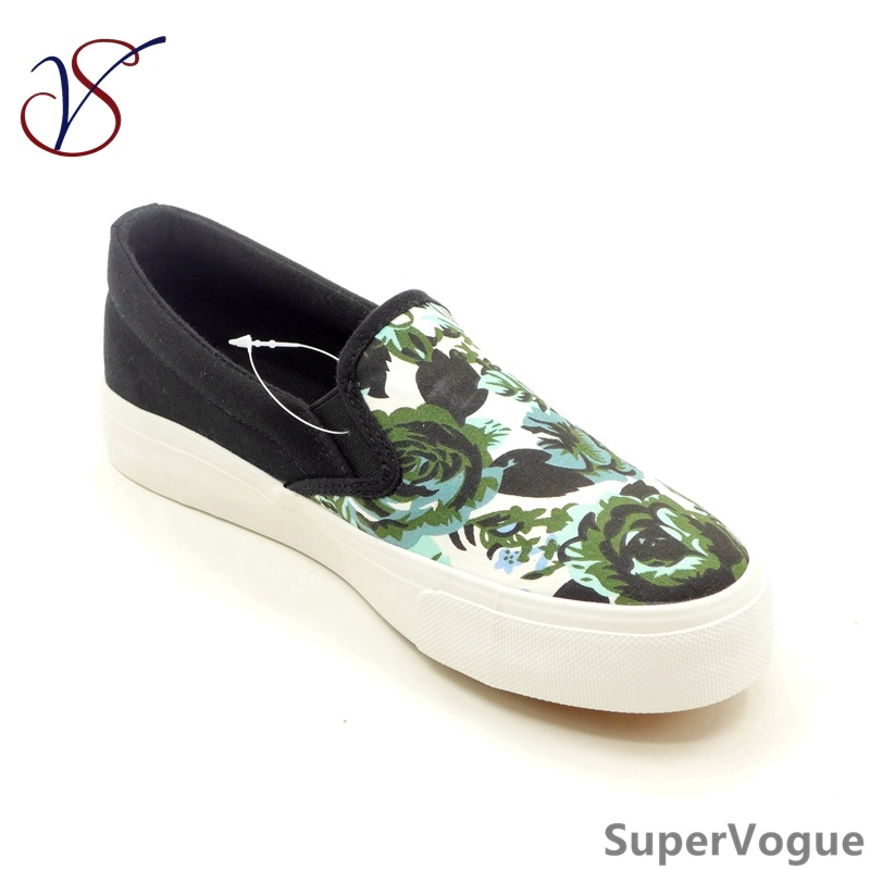 Two Color Fashion Canvas Leisure Women Lady Vulcanized Shoes with Flax Abac-003 Black