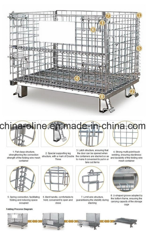 Stackable Folded Galvanized Steel Welded Wire Mesh Container