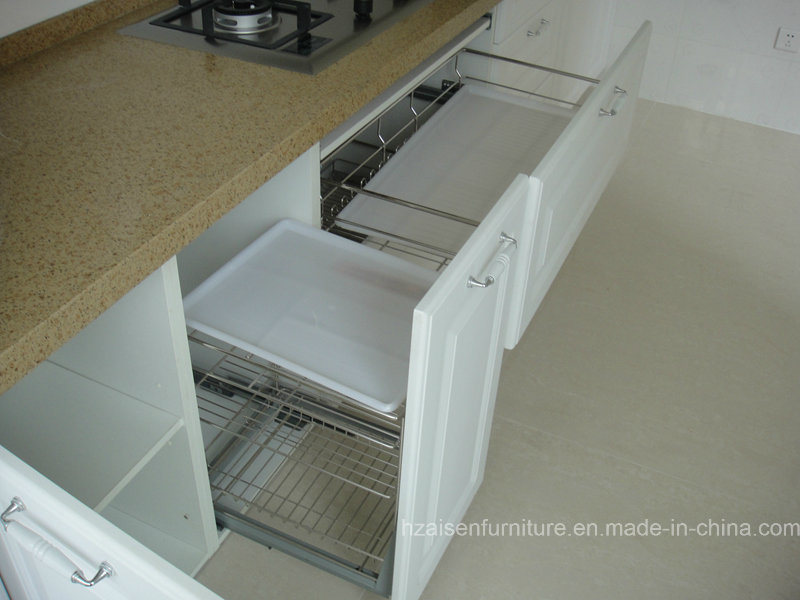 White Classic PVC Membrane Vinyl Wrapped MDF Kitchen Cabinet