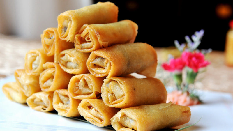 IQF Frozen 100% Hand Made Vegetable 40g/piece Cylinderical Elongated Egg Rolls