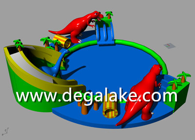 Hot Sale Large Inflatable Dinosaur Water Park Customized