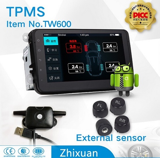Car TPMS Tire Pressure Monitor System Android Big Screen on GPS APP Internal External