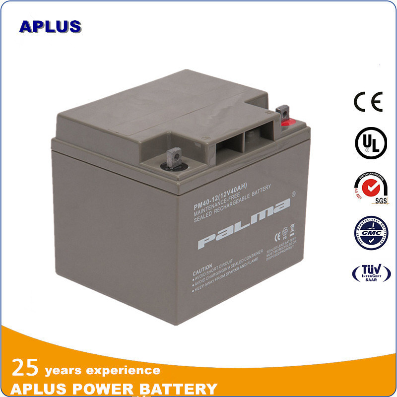 Maintenance-Free Sealed Rechargeable Solar Batteries 12V 40ah for Security System