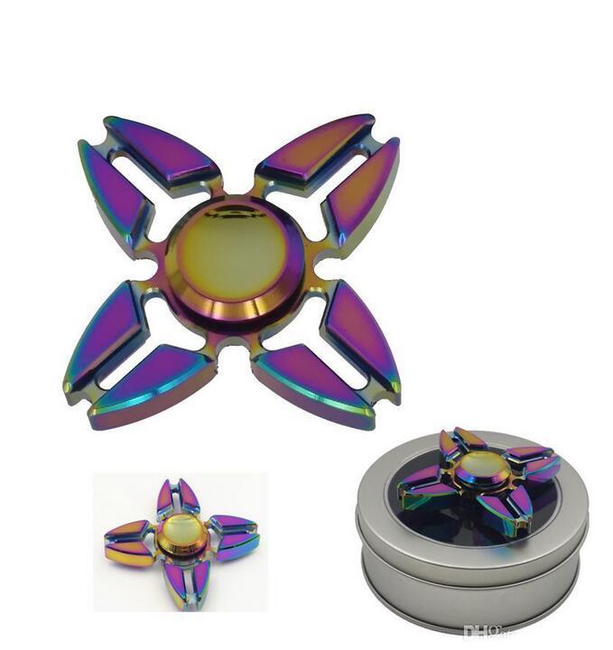 Colorful Rainbow Crab Pliers Style 4 Leaves Metal Fidget Finger Spinner Toys Hand Fingertip Spinner Gyro EDC Handspinner Desk