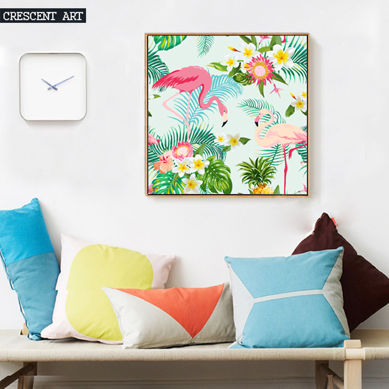 Canvas Print Wall Art of Flamingos and Flowers