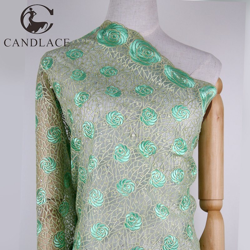 Lemon Green Wedding Embroidery Lace Fabric for Party Dress