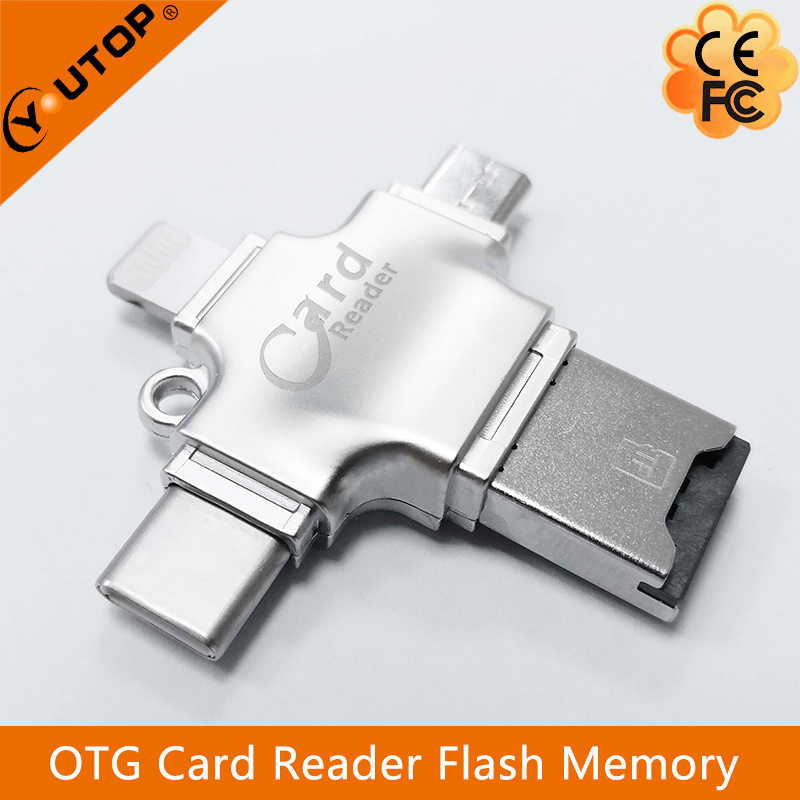 4 in 1 Metal OTG Microsd Card Reader for iPhone Lightning + Type-C+Micro USB +USB (YT-R010)
