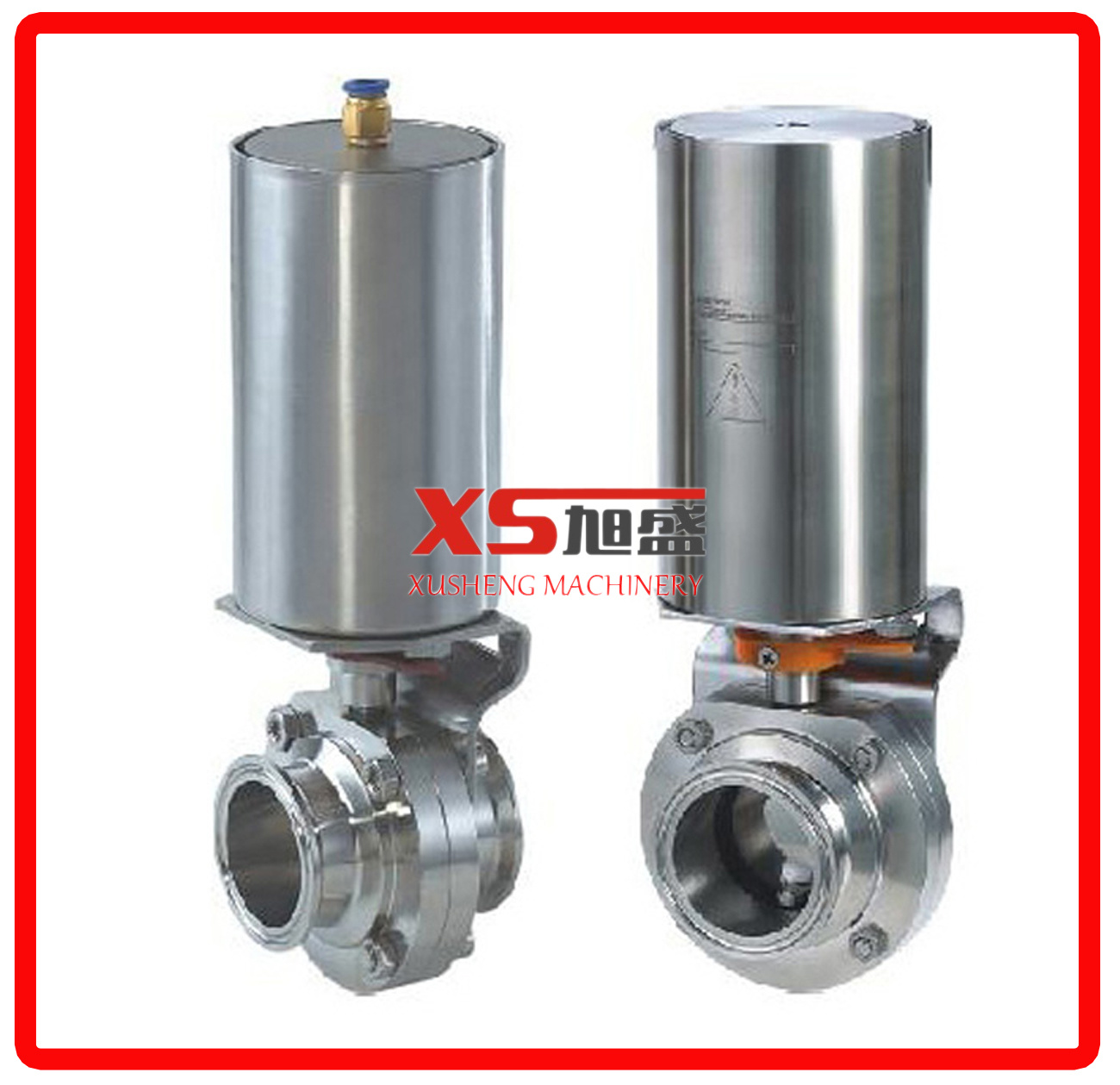 Single Acting Actuator Hygienic Stainless Steel Three Pieces Butterfly Valves