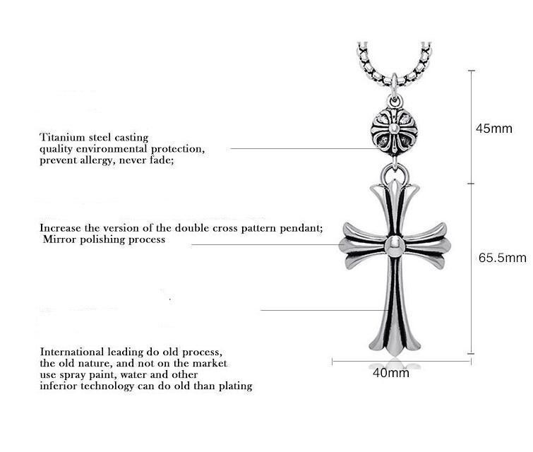 Large Vintage Cross Necklace Pendant Fashion Accessories Unisex