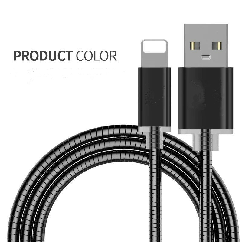 Metal Covered Lightning Charging USB Data Charger Cable for iPhone