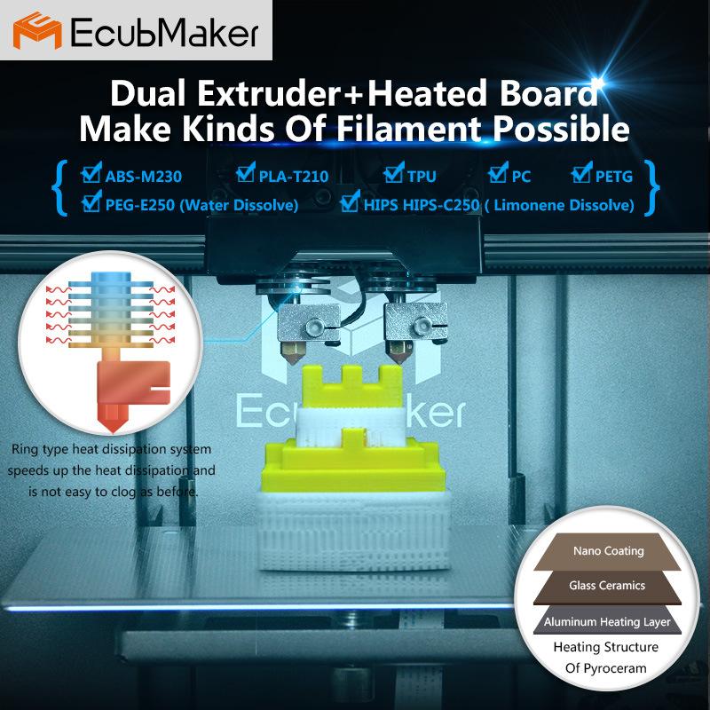 Ecubmaker Metal Plate Type and Digital Printer Type 3D Printer for Personal Printing Plastic Moulding