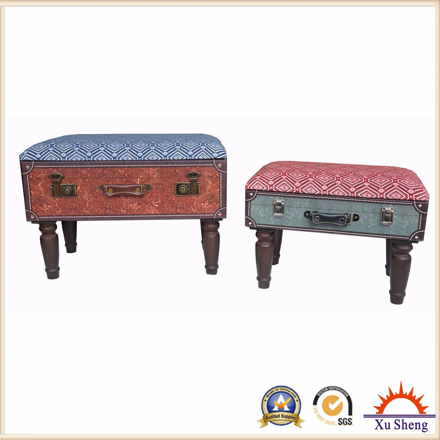 Accent Nesting Tufted Wooden Suitcase Storage Stool
