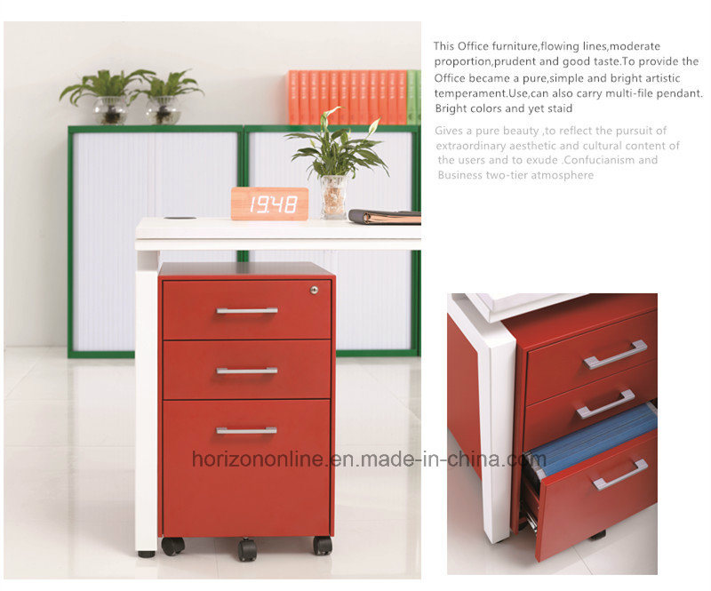 Five Wheels Mobile Filing Cabinet Metal Furniture with 3 Drawers /Pedestal