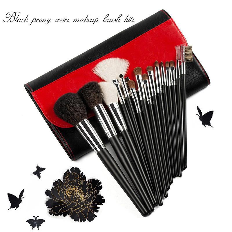 Black Peony Series Makeup Brush Kits 15 Pieces