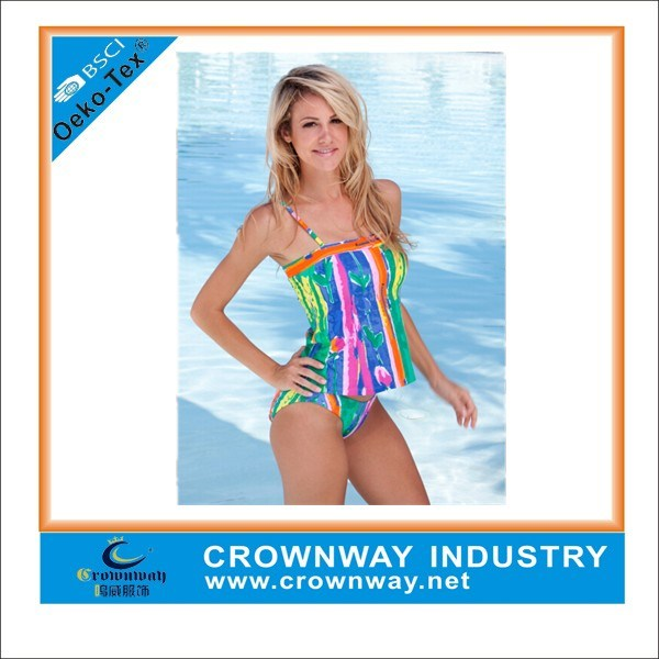 Fashion Printed Slimming Girls Swimsuit / Ladies Tankini Swimwear