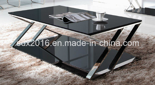 Stainless Steel Base and Tempered Glass Coffee Table Tea Table