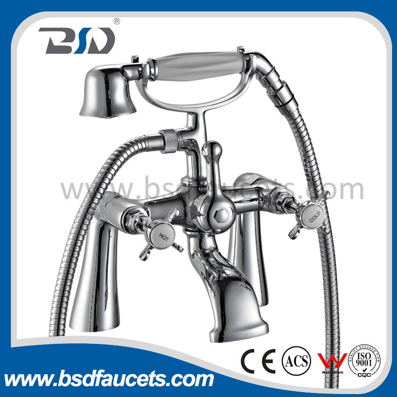Luxury Two Handles Wall Mounted Brass Bath Shower Faucet Mixer