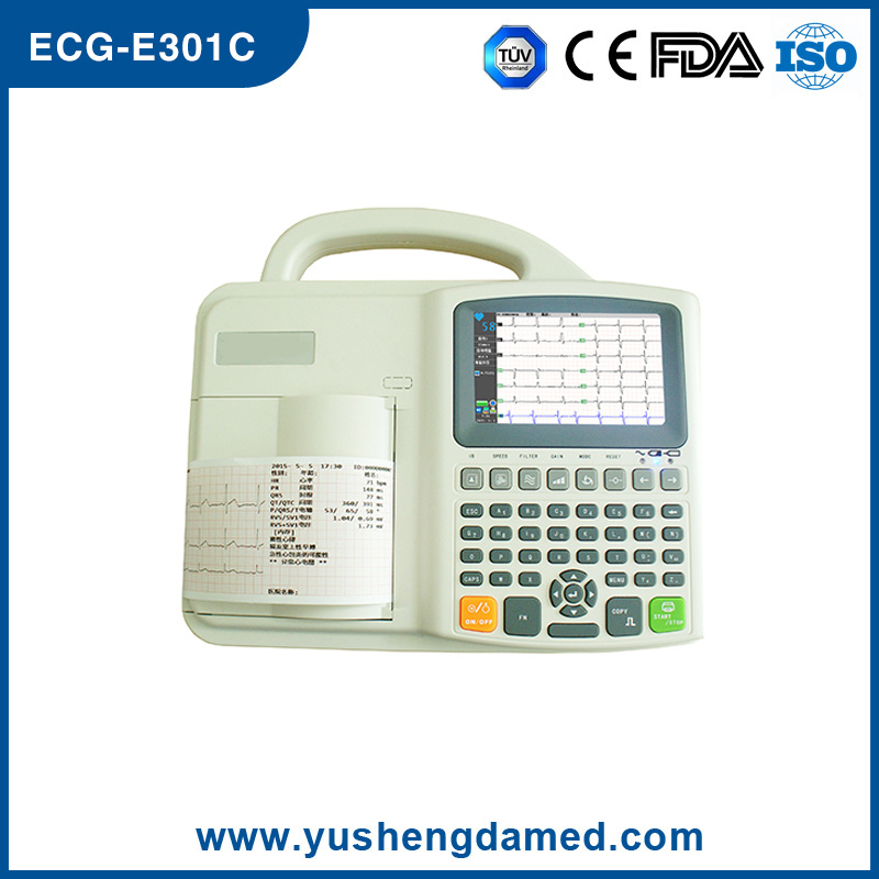 Ce ISO Approved Three Channel Interpretive Electrocardiograph ECG Machine