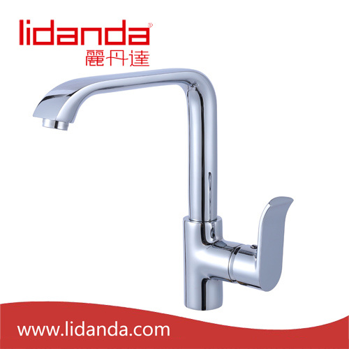Contemporary Single Handle Brass Kitchen Faucet with Chrome