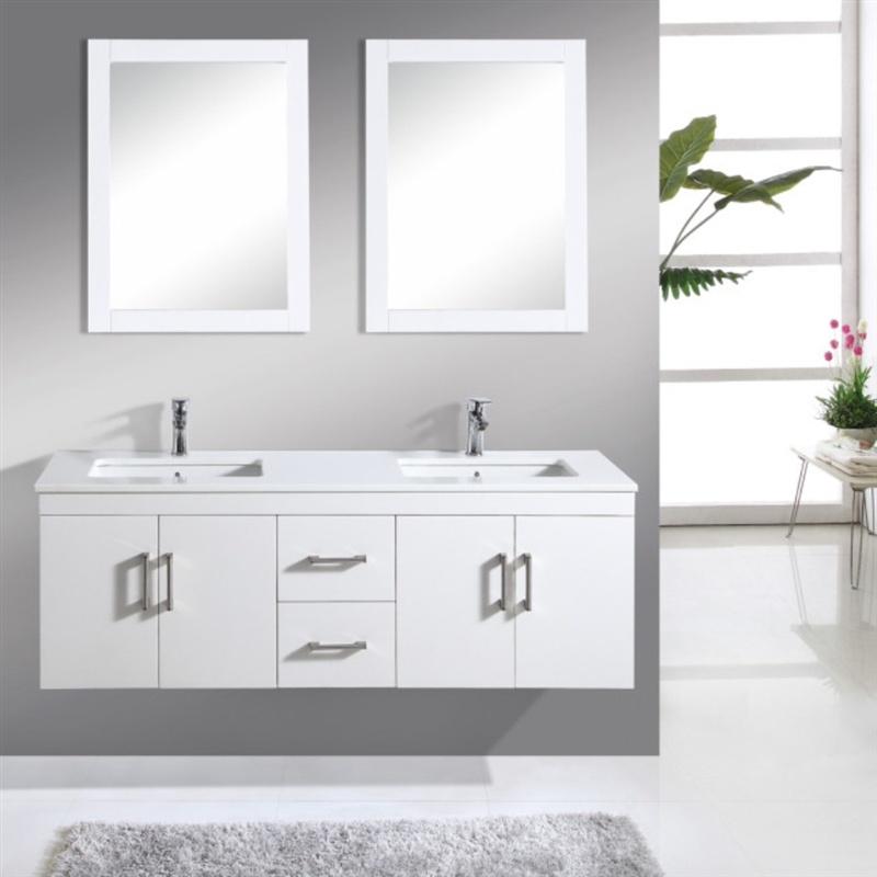 Double Sink Modern Wall Mounted Bathroom Cabinet