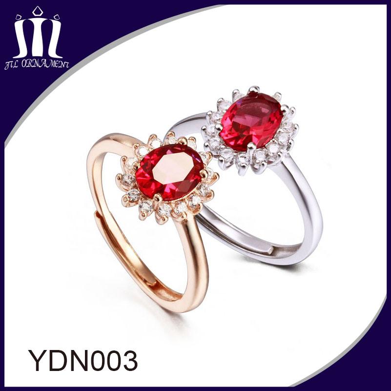 Red Corundum Gemstone Bridal Wedding Ring