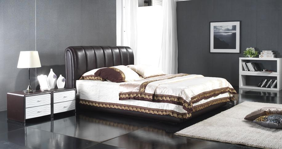 Bed, Leather Bed, Leather Soft Bed (6062)
