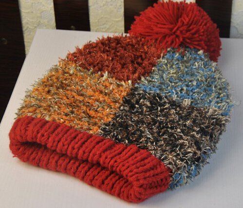 Colourful Korean Feather Style Knitting Knitted Hat