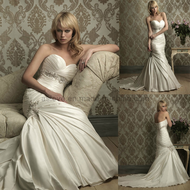 China satin sweetheart mermaid ivory wedding gown bridal for Ivory silk wedding dresses