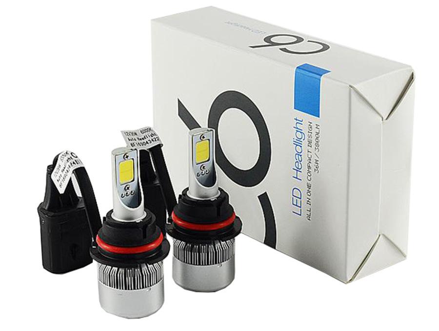 Car LED Headlights C6 9004 9007 Hi/Lo Beam COB 72W 7600lm LED Car Light with 6000k LED Bulb