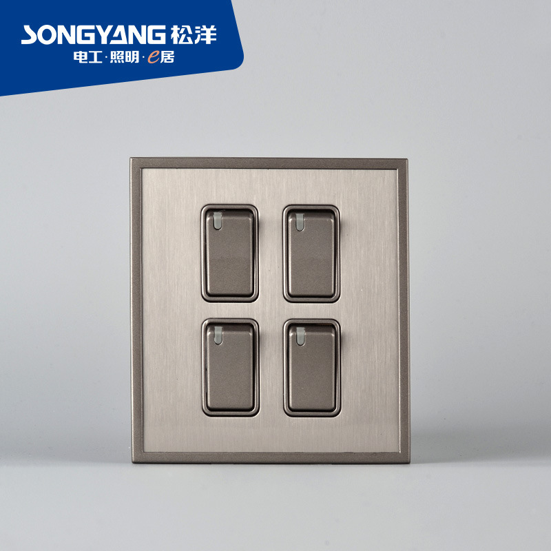 Stainless Steel Series 4gang Wall Switch