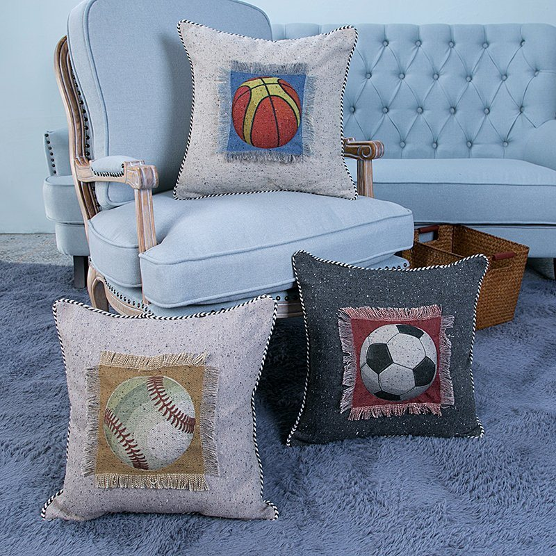Hand-Made Decorative Cushion/Pillow with Sport Ball Pattern (MX-48)