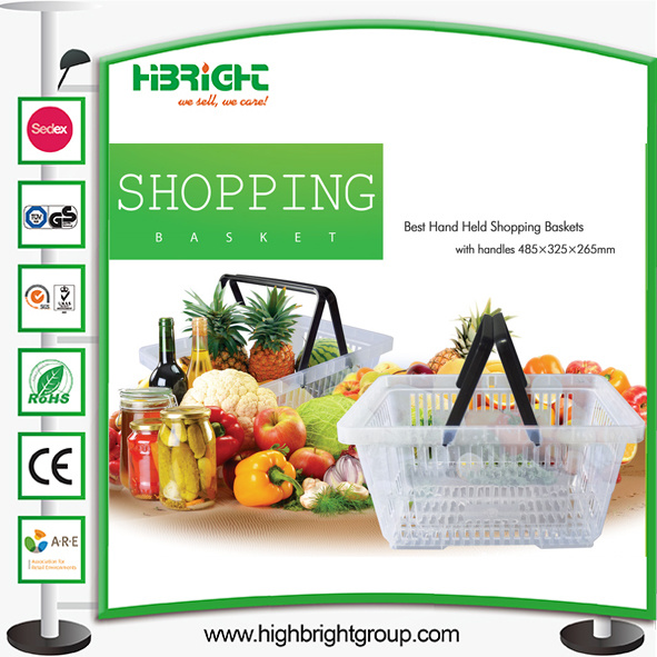 Clear Plastic Supermarket Double Handle Shopping Basket