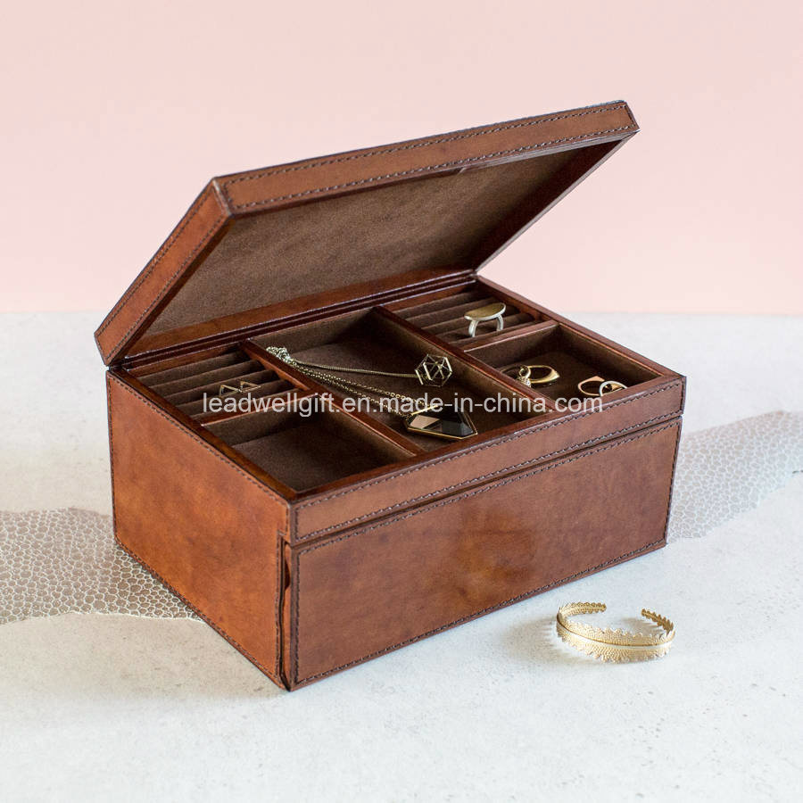 Tan / Gold Leather Jewelry Box