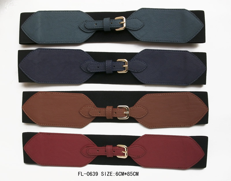 Classic Elastic Belt with Gold Buckle (FL-0639)