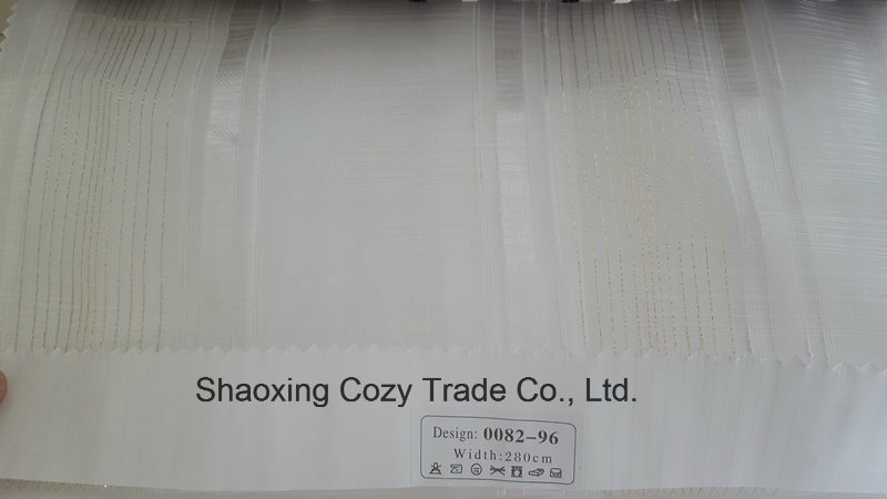 New Popular Project Stripe Organza Voile Sheer Curtain Fabric 008296