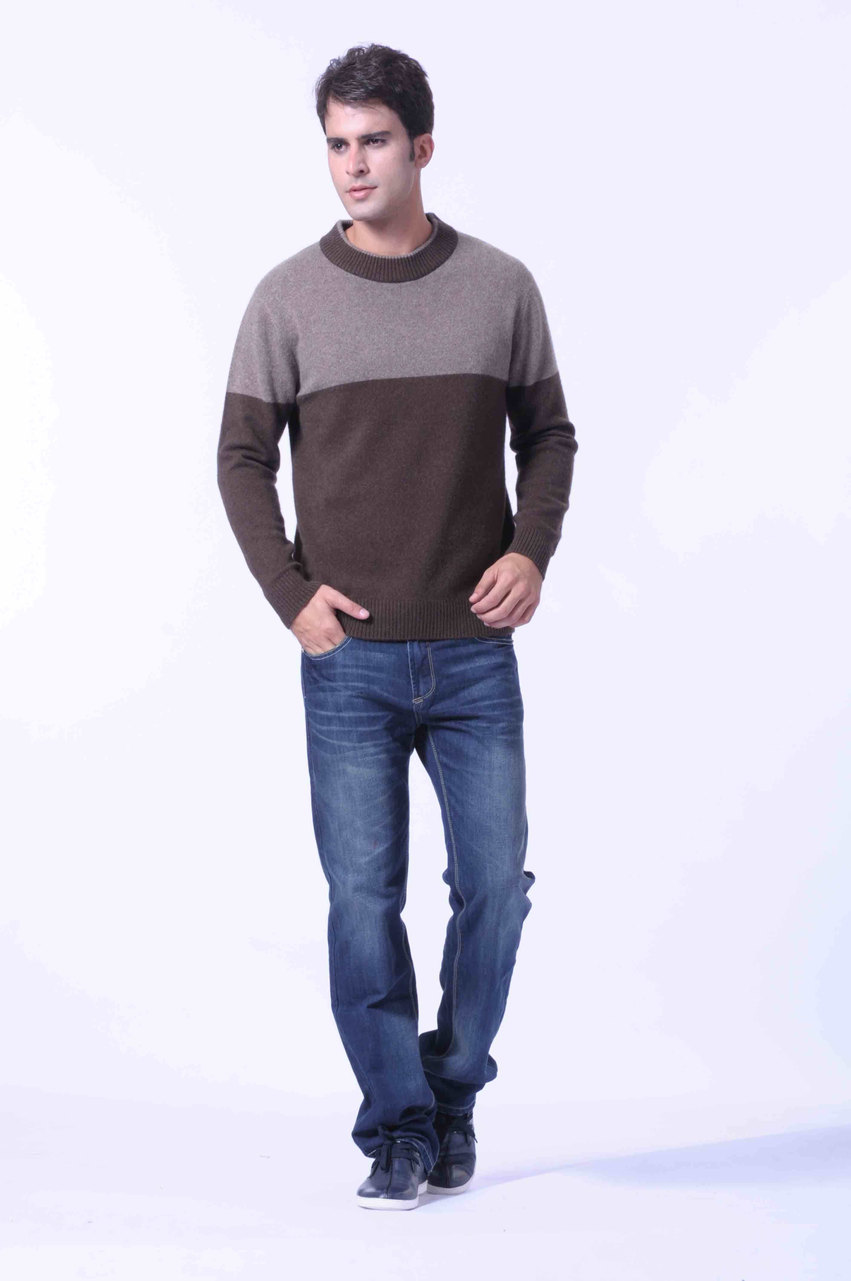 100%Yak Knitted Pullover Striped /Men′s Yak Wool /Wool Sweaters/Garment/Textile/Fabric