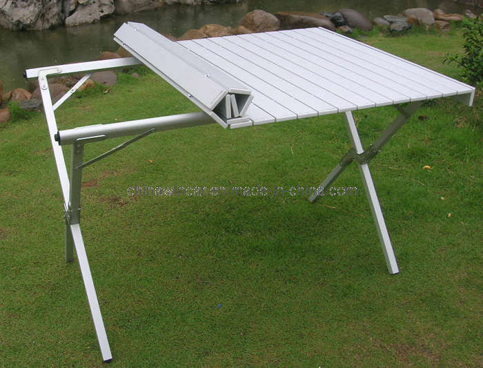 China Camping Table Folding Aluminum Portable Bench Roll