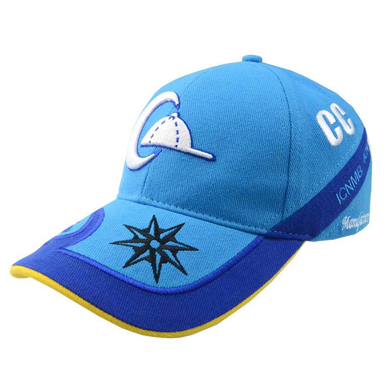 Custom Running Hat Blue 3D Embroidry Cotton Baseball Cap Racing Caps