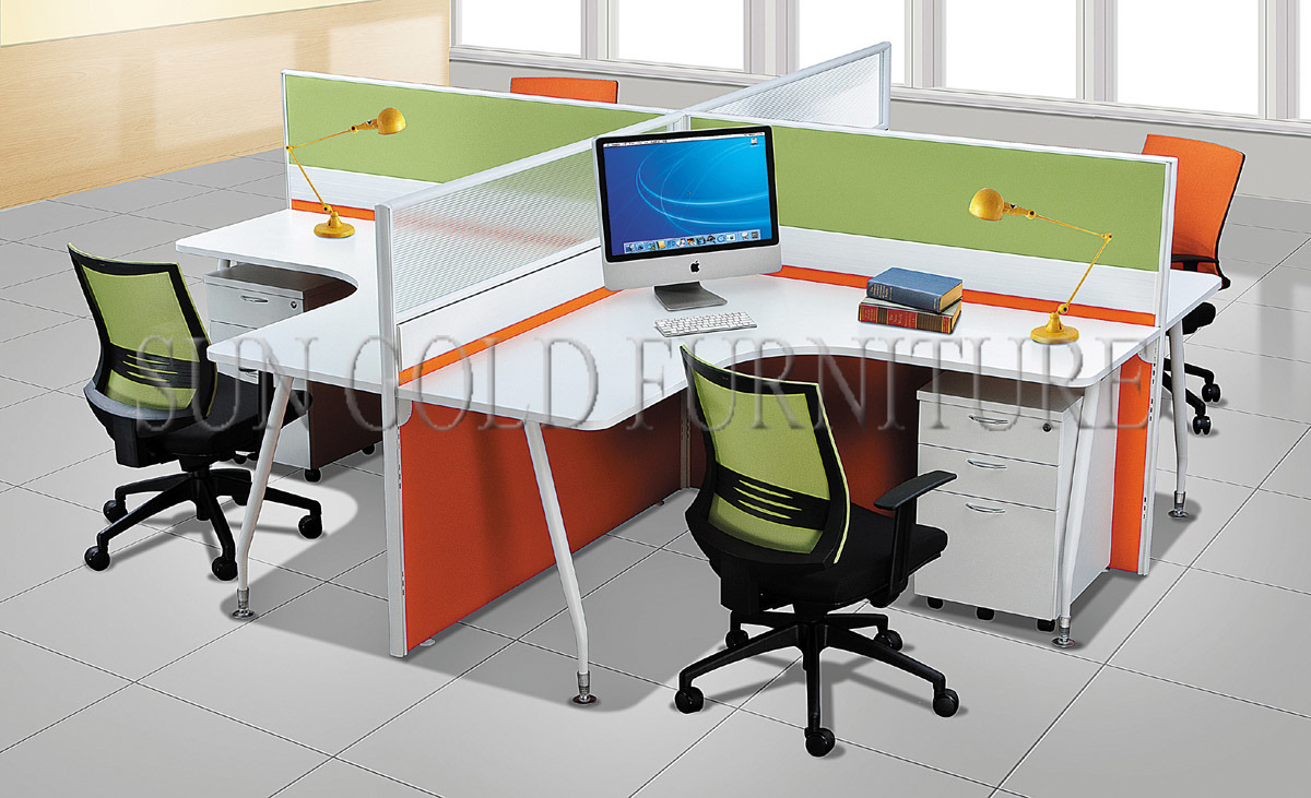 Modern Commercial 4 Seater Office Workstation Round Office Cubicles (SZ-WS909)