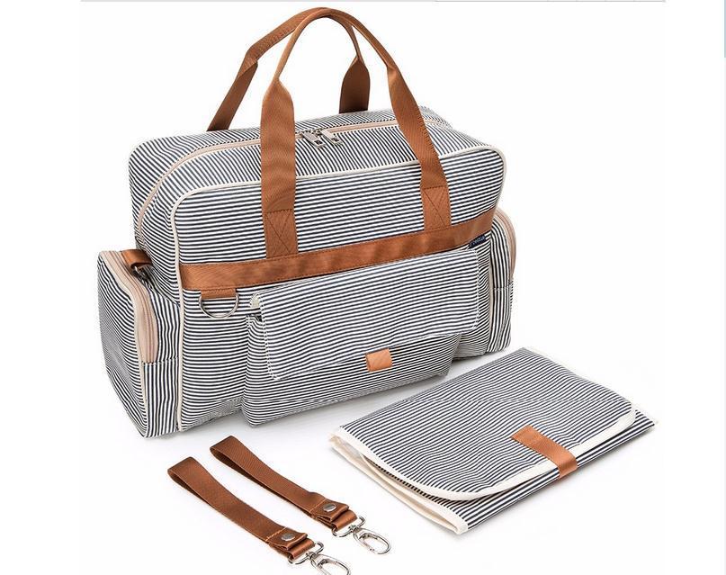 Stripe Designer Fashion Custom Mummy Bag Tote Baby Diaper Handbag