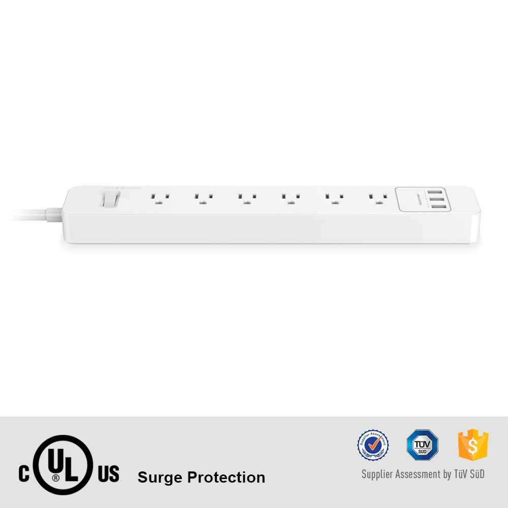 Great Quality UL cUL 6 Port AC Outlet Power Strip with 3 5V 2.4A USB Output