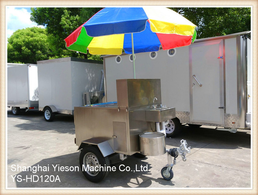 Ys-HD120A Stainless Steel Hot Dog Cart Mobile Food Carts