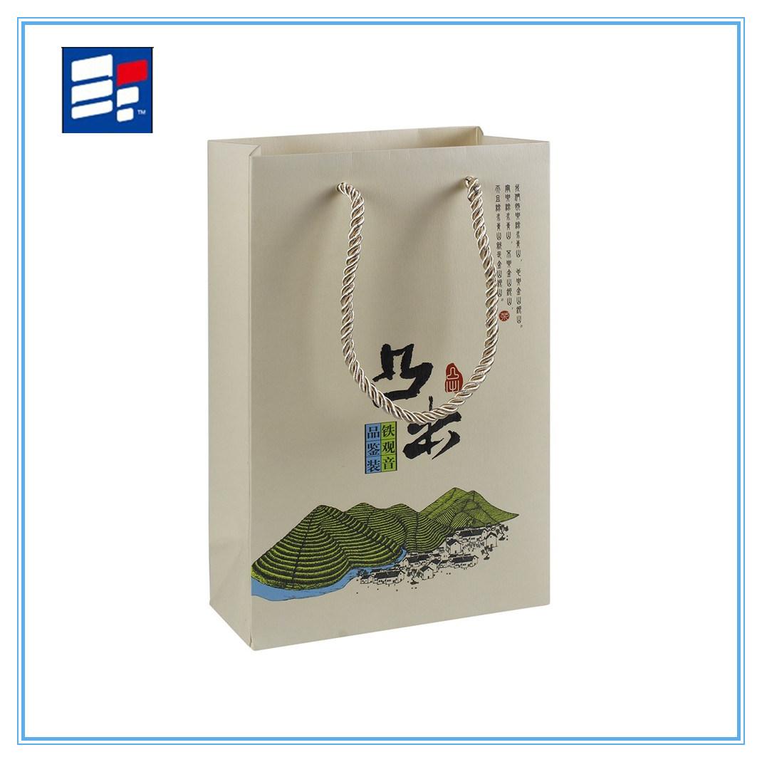 Coated Paper Handle Bag with Printing Custom Logo
