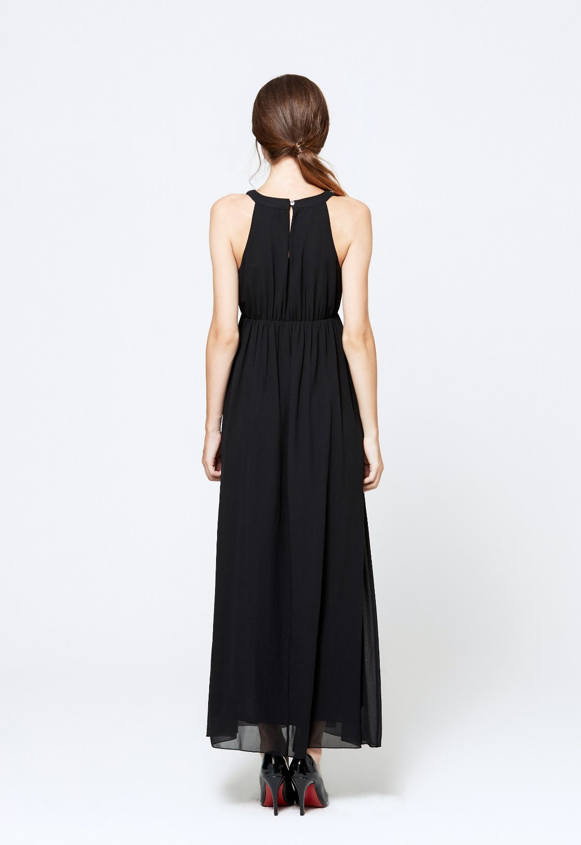 OEM ODM Best Selling Casual Sleeveless Chiffon Black Sexy Dress