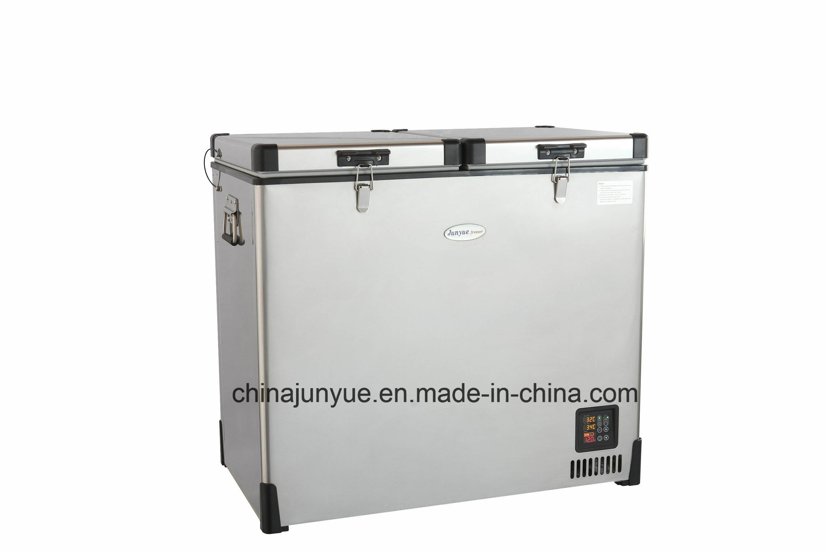 12/24V DC Double Temperature Deep Chest Solar Car Stainless Steel Freezer Scd-85L